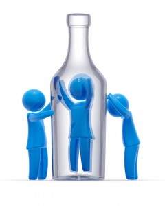 Man trapped in bottle and other two persons mourns for him. Concept of alcoholism and addiction.